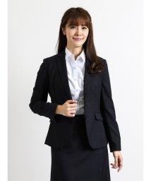 m.f.editorial/ストレッチウォッシャブル3ピーススーツ(テーラージャケット+フレアスカート+ストレートパンツ)紺ミルドチェック/501455415