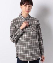 Leilian/チェックシャツブラウス/501400315