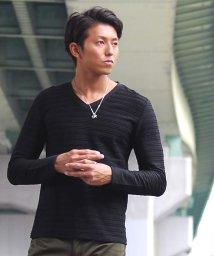 SPADE/Tシャツ ボーダー 長袖 ロングTシャツ Tシャツ ボーダー 長袖 ロングTシャツ タックボーダー 立体 エンボス  メンズ Vネック 白 ホワイト  黒 ワイ/501446652