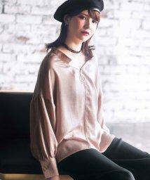 ryuryu/リング使いフロントファスナーサテンシャツ  /501379122