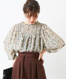 NICE CLAUP OUTLET/【natural couture】花柄シャーリングブラウス/501446718