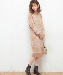 NICE CLAUP OUTLET/【natural couture】起毛チェックニットワンピース/501446722