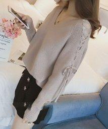 Afelice/Vネックレースアップショルダーニット 韓国 ファッション レディース ゆったり かわいい 長袖 あったか【A/W】【ra-2057】/501458908