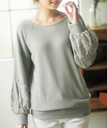 GeeRa/袖口スカラ刺しゅうレースリブニットソーチュニック/501377825