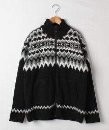 MARUKAWA/大きいサイズ 裏ボア セーター 編み柄 フルジップ/501422569