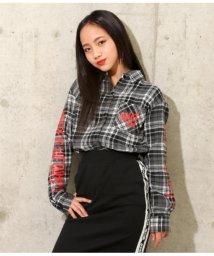 ANAP GiRL/袖プリントチェックシャツ/501462404