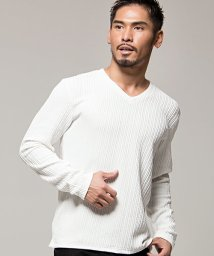 CavariA/CavariA【キャバリア】ふくれジャガード編みストライプVネック長袖Tシャツ/501463651