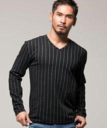 CavariA/CavariA【キャバリア】ジャガード編みストライプ柄Vネック長袖Tシャツ/501463652