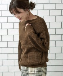 le.coeur blanc OUTLET/ワッフル編みニュアンスボートネックニット/501468308