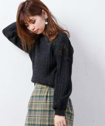 NICE CLAUP OUTLET/【natural couture】肩あき起毛レースフェザーニット/501449313