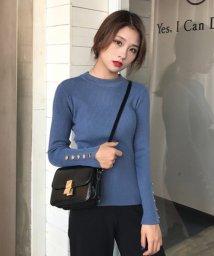 Afelice/ボタン付きシンプルニット 韓国 ファッション レディース 長袖 あったか かわいい おしゃれ【A/W】【ra-2062】/501477048