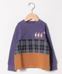 kladskap/アニマル刺しゅうチェック切り替えTシャツ/501478426