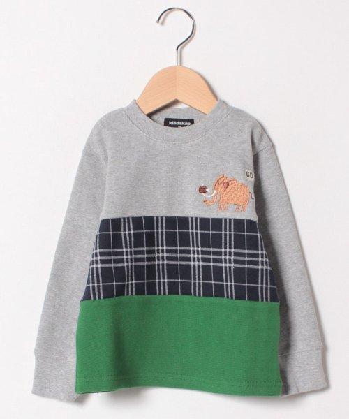 kladskap(クレードスコープ)/アニマル刺しゅうチェック切り替えTシャツ/5384202