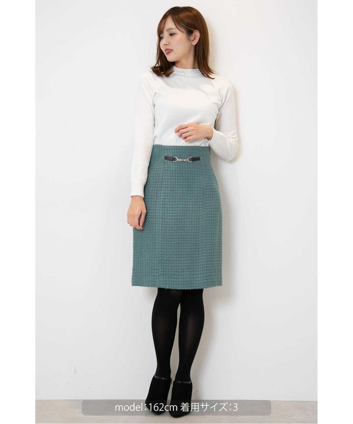 カラーロービングピケビットタイトスカート