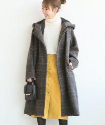 Spick & Span/チェックWクロスフーディッドコート◆/501499145