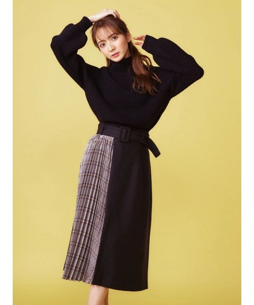 MIIA(ミーア)/ベルト付きプリーツ切換えスカート/34844416
