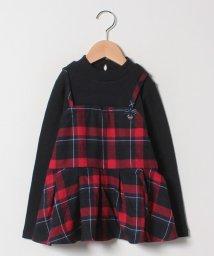 petit main/フェイクレイヤードチェックハイネックリブTシャツ/501492740