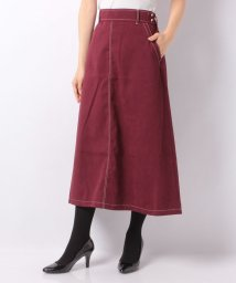 NICE CLAUP OUTLET/【natural couture】配色ステッチフレアスカート/501487326