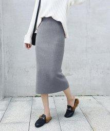 Girly Doll/ハイウエスト スリットリブニットスカート(選べる丈2TYPE)/501488004