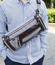ZARIO/ボディバッグ メンズ 人気 ファニーパック メンズボディバッグ 鞄 フェイクレザー 杢調ナイロン/501510868