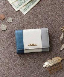 Clelia/折り財布 小さい財布 財布 レディース 三つ折り ボックス型小銭入れ トリコロール /501510990
