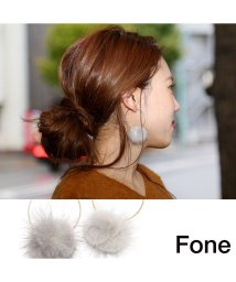 fone/Fone ファーフープピアス  GRAY/501511809