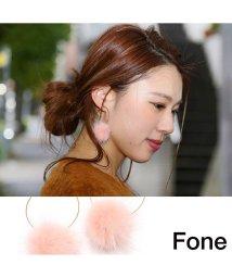 fone/Fone ファーフープピアス  LIGHT PINK 17SU-I/501511810