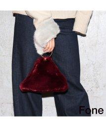 fone/Fone フェイクファー配色 クラッチバッグ  GRAY×BURGUNDY 17FA-I/501511908
