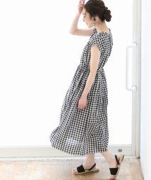 coen/【19SS新作・Market】ウエストギャザーマキシワンピースII (ストライプ・ギンガムチェック)/501513043