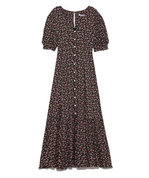 52012b49f98eb パフスリーブプリントロングワンピース(501514626)|レディースファッション|阪急百貨店公式通販 HANKYU FASHION