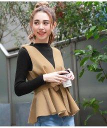 CHILLE/リボン付裾フレアトップス×インナーセット/501452243
