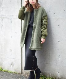 NICE CLAUP OUTLET/【natural couture】ボア切替ノーカラーロングブルゾン/501509775