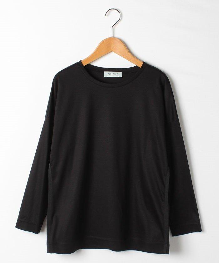 レリアンクルーネック長袖Tシャツレディースブラック9【Leilian】