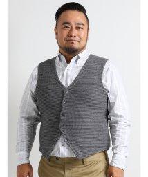 GRAND-BACK/【大きいサイズ】ウォッシャブル配色地柄ニットジレ/501303274