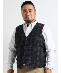 GRAND-BACK/【大きいサイズ】ALEXANDER JULIAN 前身布帛チェック柄ニットジレ/501303288