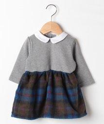 petit main/衿つきウール調ドッキングワンピース/501513858