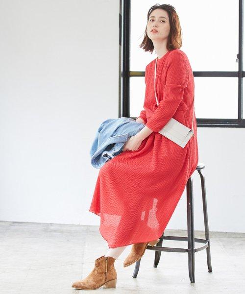 ROPE' mademoiselle(ロペ マドモアゼル)/シャーリングタックアシメワンピース/GWE49010