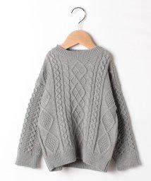 petit main/編み地切り替えハイネックニットセーター/501515781
