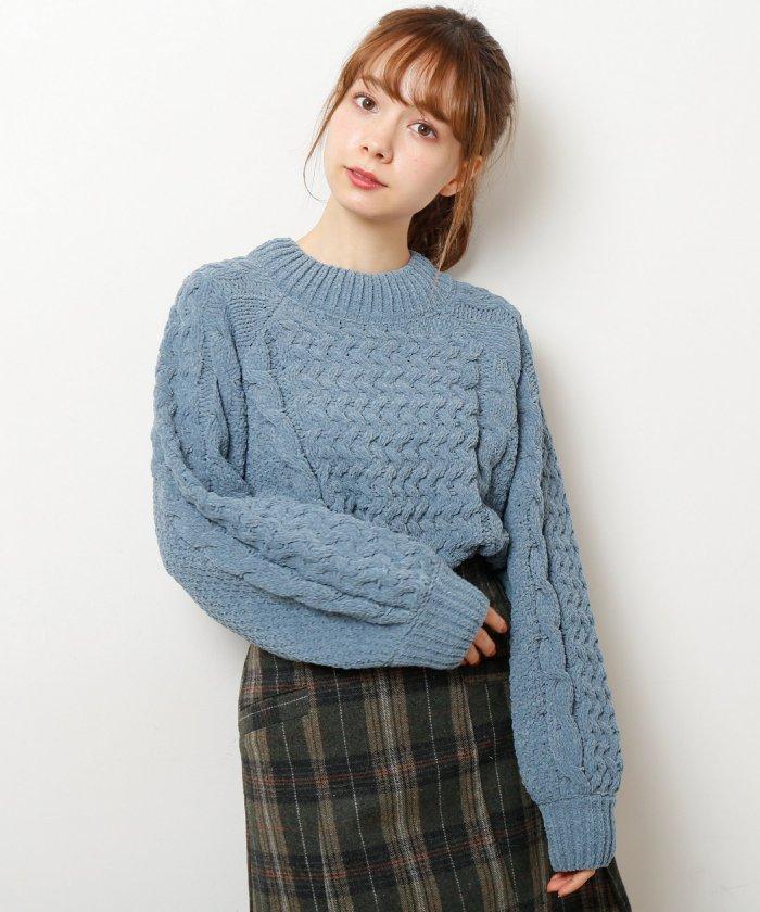 モールヤーンケーブル・カノコ編みプルオーバー