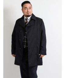 GRAND-BACK/【大きいサイズ】ライナー付き撥水ショートトレンチコート ジャガード紺/501525504