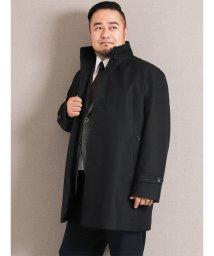 GRAND-BACK/【大きいサイズ】ライナー付き撥水防風イタリアンカラーコート ヘリンボン黒/501525505