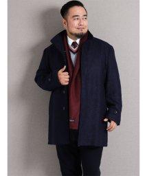 GRAND-BACK/【大きいサイズ】リングウール混スタンドカラーハーフコート/501525538