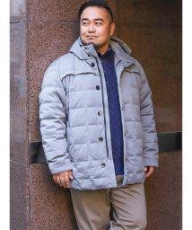 GRAND-BACK/【大きいサイズ】アレキサンダージュリアン/ALEXANDER JULIAN 杢ニット裏フィルムダウンハーフコート/501525601
