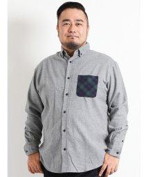 GRAND-BACK/【大きいサイズ】ネルニットポケットレギュラーカラー長袖シャツ/501525629