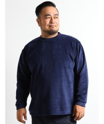 GRAND-BACK/【大きいサイズ】天竺片面ベロアクルーネック長袖Tシャツ/501525695