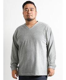 GRAND-BACK/【大きいサイズ】細コールベロアVネック長袖Tシャツ/501525696