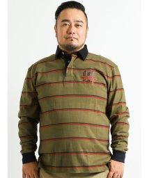 GRAND-BACK/【大きいサイズ】POLO(ポロ)刺繍ボーダーラガー長袖シャツ/501525703