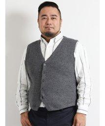 GRAND-BACK/【大きいサイズ】紡毛地柄ニットジレ/501525845