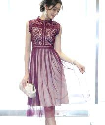 BLUEEAST/《結婚式 パーティー 二次会》スタンドカラーラメレースxチュール切替ドレス/501535742