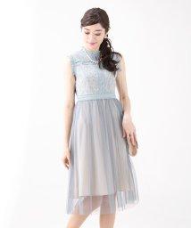 BLUEEAST/《結婚式 パーティー 二次会》ハイネックラメレースxチュール切替ドレス/501535742